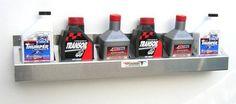 Pit Posse 304 6 Bottle Oil Rack Shelf Aluminum Enclosed Race Trailer Shop Garage Storage Organizer | Garage Shelves