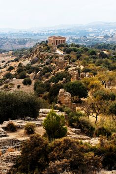 Temples in Agrigento, Valle dei Templi,  located on a ridge looking out at the Mediterranean