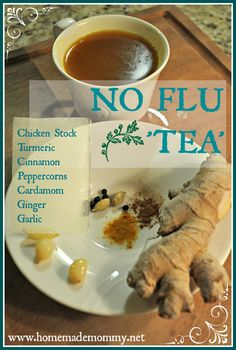 Soup or Bone Broth doesn't have to just be eaten as a meal as 'soup'. Why not ditch the bowl and spoon and make a delicious 'tea' out of it?A No Flu 'Tea'! via Homemade Mommy