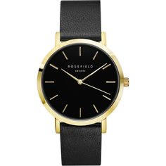 Black Gramercy ladies watch - black leather strap | ROSEFIELD Watches ($105) ❤ liked on Polyvore featuring jewelry and watches