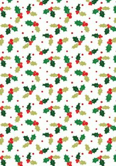Christmas Scrapbook Paper - Holly--free download Christmas--many