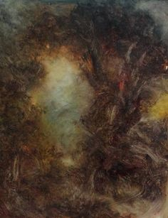 work in progress, forest oil painting by David Ladmore  see finished paintings at www.davidladmore.com art, artist, illustration, landscape, woodlands, trees, mysterious, gothic, magic, wicca, dark