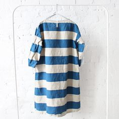 Ichi Antiquites Border Linen Dress Marine Blue
