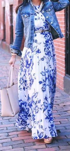 Stylish Jewel Neck Sleeveless Floral Print Pleated Chiffon Dress For Women Blue Floral Print White Street Style Maxi Dress & Jacket Magnificent Outfit Floral Maxi Dress, Dress Skirt, Dress Up, Maxi Skirts, Pleated Maxi, Dress Long, Chiffon Dress, Denim Skirts, Jean Skirts