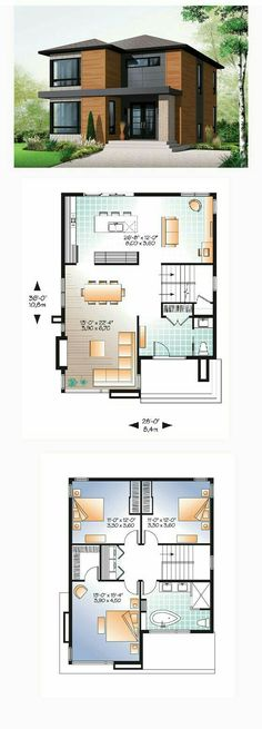 Contemporary Modern Style House Plan with 1852 Sq Ft 3 Bed 2 Bath 2019 Modern House Plan 76317 Sims House Plans, Small House Plans, Sims 2 House, Dream House Plans, Casas The Sims 4, Modern Floor Plans, Home Design Plans, Home Layout Plans, Floor Plan Layout