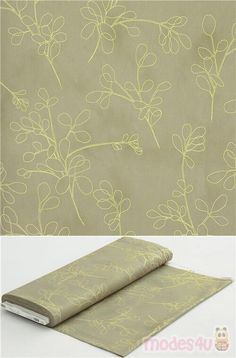 """cotton fabric in beige with gold metallic outline florals, Material: 100% cotton, Fabric Type: smooth cotton fabric, Pattern Repeat: ca. 24cm (9.4"""") #Cotton #Flower #Leaf #Plants #Metallic #USAFabrics"""