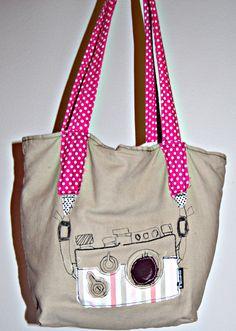 """Wonnie's little ideas: Kameratragetasche mit Stickerei (Äh, inglisch """"Camera embroidery tote bag"""") RUMS!"""