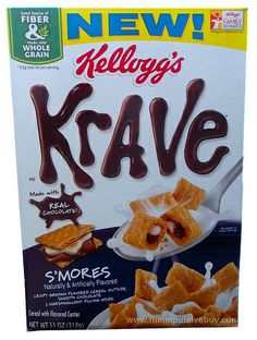 Kellogg's S'mores Krave Cereal. Two letters. E. U. (Translated EW!!!)