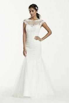 Tulle Over Satin Wedding Dress with Cap Sleeve WG3717
