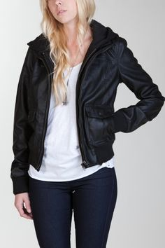 Obey hooded faux leather jacket. One day it will be mine!!!!!!!!!!