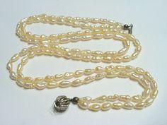 Vintage Halsschmuck - Alte Perlenkette ZUCHTPERLEN Perlen shabby chic - ein…