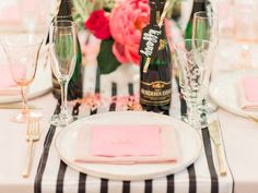 Table setting from Forty & Fabulous Floral Glam Birthday Party at Kara's Party Ideas. See more at karaspartyideas.com!