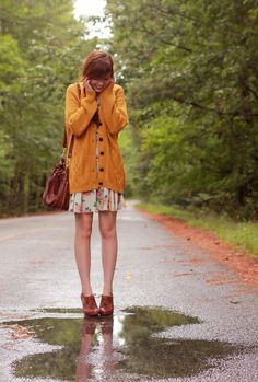 Autumn's coming mustard yellow cardigan + floral dress + oxford heels + large…