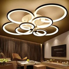 rings white finished chandeliers LED circle modern chandelier lights for living room acrylic Lampara de techo indoor Lighting Item Type: Chandeliers Style: Modern Finish: Iron Voltage: 220V,90-260V,11