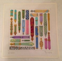 Hand Painted Needlepoint Canvas of fountain pens