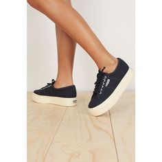 Superga Navy Platform Sneakers (€80) ❤ liked on Polyvore featuring shoes, sneakers, cross shoes, superga sneakers, platform trainers, cross trainers and flat shoes