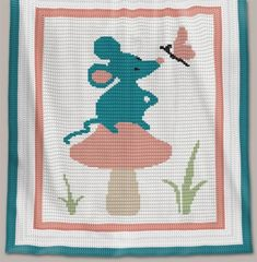 Crochet Pattern   Baby Blanket / Afghan - Forest Mouse - Full Row-by-Row Written Instructions + Chart