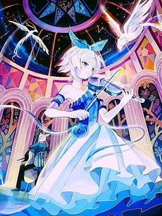 Rin Kagamine - Vocaloid. Apretty anime girl turned right standing with dpretty dress holding a violin with down-up perspective and hpretty short hair