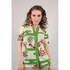 De Parisini Mod floral cotton polo. RARE signed Italian designer.