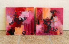 Flot rødt maleri i varme nuancer Kunstner Mette Vester