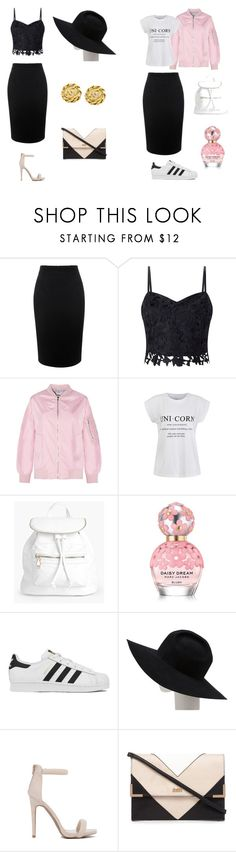 """black skirt"" by emstyles-1 on Polyvore featuring Alexander McQueen, Lipsy, Ally Fashion, Boohoo, Marc Jacobs, adidas, Gladys Tamez Millinery and Chanel"