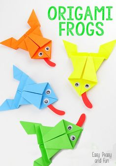 Origami Frogs Tutorial - Origami for Kids - Easy Peasy and Fun. I love origami Art Origami, Design Origami, Origami Ball, Origami Ideas, Origami Mobile, Origami Patterns, Frog Crafts, Crafts For Kids, Arts And Crafts