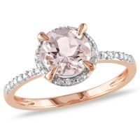 Classic 10K Pink Gold with Pink Round Morganite & 0.05ctw I1-I2 White Diamond Ring - Size 6