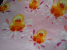 Happy splashing little yellow Duck on Pink for by Jusadreamin