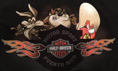 Harley Davidson Puerto Rico Large T-Shirt Looney Tunes Taz Yosemite Motorcycle #LooneyTunes #GraphicTee