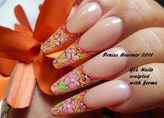 Gel Nails sculpted with forms ...to see nail  tutorials visit me on YouTube , channel name is Denisejohn65