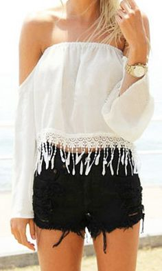 White Chiffon Off-Shoulder Top
