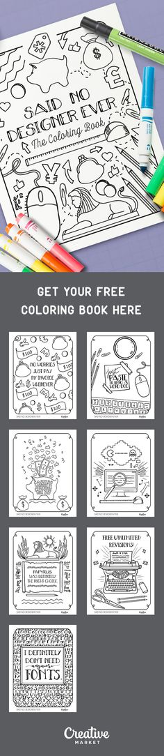 On the Creative Market Blog - Free Coloring Book: Things No Designer Has Ever Said