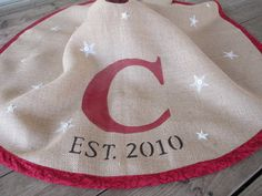 Monogram Burlap Christmas Tree Skirt With Stars
