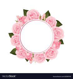 Pink rose flower banner wreath vector image on VectorStock Vintage Flowers Wallpaper, Flower Background Wallpaper, Flower Backgrounds, Flower Girl Bouquet, Pink Rose Flower, Pink Flowers, Frame Floral, Flower Frame, Wreath Watercolor