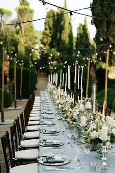 Outdoor Wedding Reception with string lights
