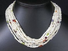 XaXe.com - 8 row 3.5mm white freshwater pearl necklace