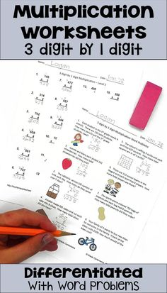 Multiplication Worksheets: 3 Digit by 1 Digit Levels plus word problems) Math Multiplication Worksheets, 4th Grade Math Worksheets, Printable Math Worksheets, Kids Math Worksheets, 3rd Grade Math, Math Resources, Fourth Grade, Math Activities, Printables