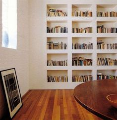 built in wall shelves, home library Floor To Ceiling Bookshelves, Bookshelves Built In, Built Ins, Book Shelves, Bookshelf Wall, Modern Bookshelf, Billy Bookcases, Bookshelf Ideas, Wall Shelves