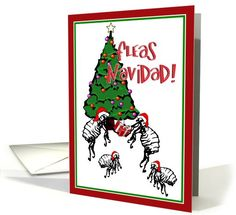 SOLD! ~ Fleas Navidad, Christmas Tree, Fleas with Santa Hats & a Gift Greeting Card (at Greeting Card Universe)