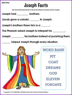 Joseph Facts (Fill in the Blank) - Kids Korner - BibleWise