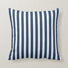 Shop Cabana Stripe in Navy Blue and White Throw Pillow created by AnyTownArt. Navy Blue Throw Pillows, Blue And White Pillows, Nautical Pillows, White Throws, Accent Pillows, Geometric Cushions, Striped Cushions, Decorative Cushions, Hamptons Style Homes