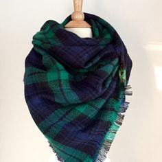 Plaid Blanket Scarf Green and Blue Oversized Zara Tartan Scarf Gift Ideas Accessories Bloggers Favorite Scarf