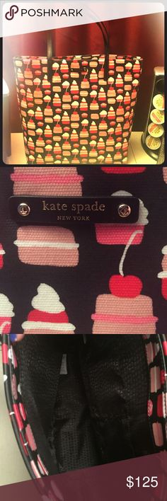 """Kate Spade take the cake bon shopper brand new Brand new Kate Spade """"take the cake"""" shopper mini pastry bag. 100 % authentic and purchased directly from The Kate Spade Company. Brand new with tags. Never used and still comes wrapped in the original packaging. Perfect for this beautiful holiday season🎅🏻🎁🎄16 inches wide by 14 inches tall. All tags are perfectly intact. kate spade Bags Shoulder Bags"""