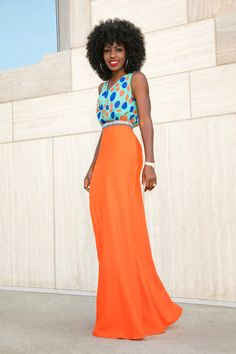 Polka Dot Cowl Neck + Embellished Waist Maxi Skirt
