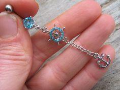 Blue Crystal Nautical Belly Ring Water Lovers  #NauticalBellyRing, #LtBlueCrystal, #IsleOfCraftin