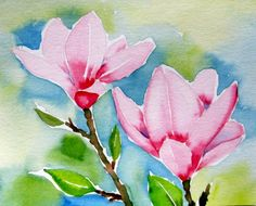 """Magnolia"" Small Watercolor Painting 2012, painting by artist Meltem Kilic"