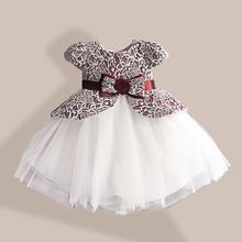 Lace Flower Girl Dress TUTU style Silk Belt Princess Kids Dresses 3 colors leopard Girls Party Dress for 1-6T(China (Mainland))