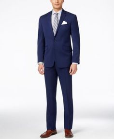Distinctive and intriguing, this slim-fit suit from Kenneth Cole Reaction boasts a handsome sharkskin texture in vibrant blue. Blue Suit Men, Navy Blue Suit, Buy Suits, Suit Combinations, Fitted Suit, Well Dressed Men, Men Looks, Wedding Suits, Slim