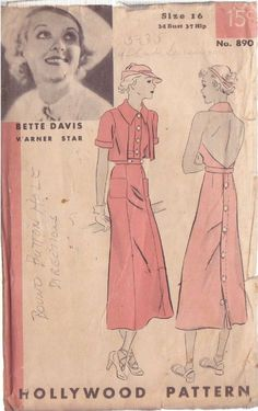 Hollywood 890 featuring Bette Davis | 1930s one-piece frock and bolero