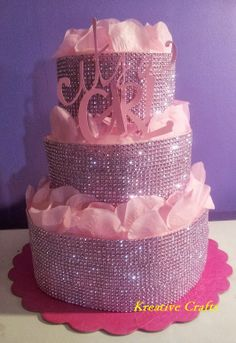diaper cakes for baby shower Pink Diaper Cake - Diamonds for a Baby Girl. 3 Tiers of 80 number 1 diapers. Bling Baby Shower, Baby Shower Diapers, Girl Shower, Baby Shower Crafts, Baby Shower Decorations, Pink Diaper Cakes, Diaper Cake Centerpieces, Paint Party, Baby Birthday